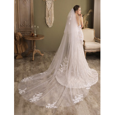 Two-tier Cut Edge Chapel Bridal Veils With Applique