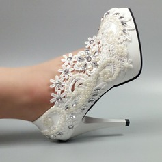 Women's Patent Leather Stiletto Heel Closed Toe Pumps With Imitation Pearl Rhinestone Stitching Lace Applique