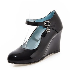 Women's PU Wedge Heel Pumps Closed Toe Wedges With Buckle shoes
