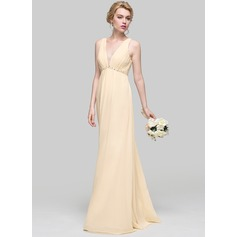 Empire V-neck Floor-Length Chiffon Bridesmaid Dress With Ruffle Beading Sequins Bow(s)
