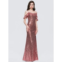 Sheath/Column Square Neckline Floor-Length Sequined Evening Dress With Cascading Ruffles