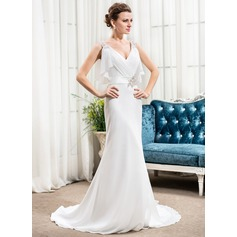 Trumpet/Mermaid V-neck Court Train Chiffon Wedding Dress With Beading Sequins Cascading Ruffles