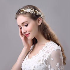 Ladies Leaves Shaped Rhinestone/Alloy/Imitation Pearls Headbands