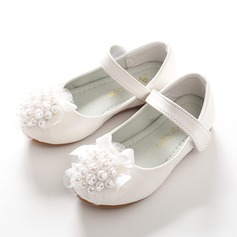 Jentas Round Toe Lukket Tå Leather flat Heel Flower Girl Shoes med Profilering Bowknot Velcro Blomst