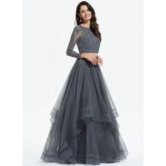 A-Line Scoop Neck Floor-Length Tulle Prom Dresses With Beading Sequins (018175941)