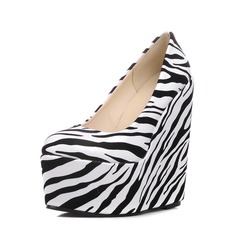 Women's PU Wedge Heel Pumps Platform Closed Toe Wedges With Animal Print shoes
