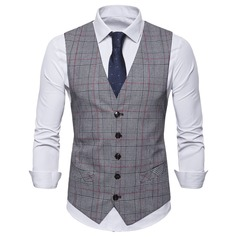 Plaid linen Men's Vest