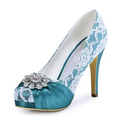 Women's Lace Silk Like Satin Stiletto Heel Platform Pumps With Crystal