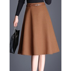 A-Line Skirts Knee Length Plain Polyester Skirts (1005163032)