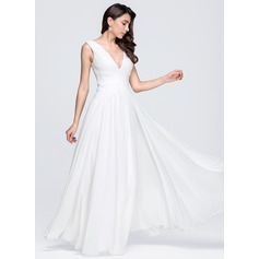 A-Line V-neck Floor-Length Chiffon Wedding Dress With Ruffle