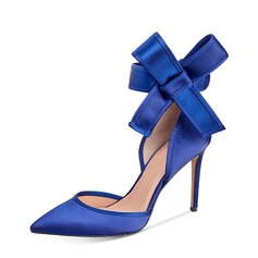 Women's Silk Like Satin Stiletto Heel Pumps Closed Toe With Bowknot shoes
