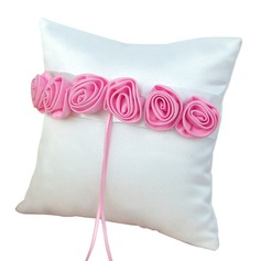 Elegant Rose Ring Pillow in Satin With Flowers