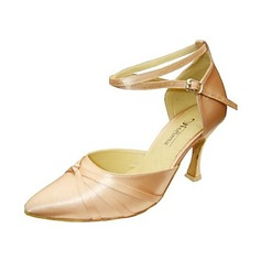Women's Satin Heels Sandals Pumps Ballroom With Ankle Strap Hollow-out Dance Shoes