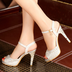 Women's Leatherette Stiletto Heel Sandals Platform Peep Toe With Rhinestone shoes