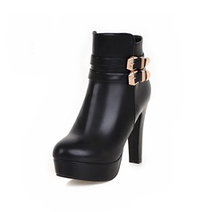 Women's Leatherette Chunky Heel Platform Ankle Boots With Buckle shoes