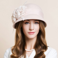 Ladies' Beautiful Wool With Silk Flower Bowler/Cloche Hat