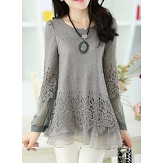 Lace Long Sleeves Chiffon Round Neck Casual Blouses Blouses (1003159510)