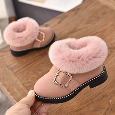 Girl's Closed Toe Leatherette Flat Heel Flats Boots With Buckle