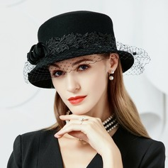 Ladies' Elegant Wool With Tulle Bowler/Cloche Hat