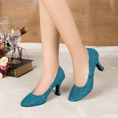 Women's Sparkling Glitter Heels Sandals Pumps Ballroom Dance Shoes