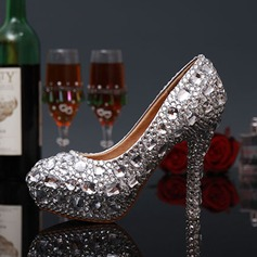 Women's Leatherette Stiletto Heel Closed Toe Pumps With Rhinestone Jewelry Heel