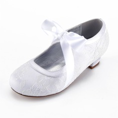 Girl's Round Toe Closed Toe Mary Jane Lace Silk Like Satin Low Heel Flower Girl Shoes
