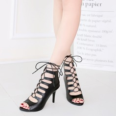 Women's Leatherette Stiletto Heel Sandals With Lace-up Hollow-out shoes