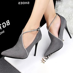 Women's Suede Stiletto Heel Pumps Closed Toe With Buckle shoes (085154111)