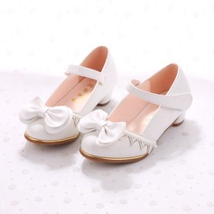Girl's Closed Toe Leatherette Low Heel Flats Flower Girl Shoes With Bowknot Imitation Pearl Velcro