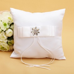 Chic Ring Pillow in Satin With Ribbons/Rhinestones