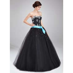 Ball-Gown Sweetheart Floor-Length Tulle Quinceanera Dress With Sash Beading Appliques Lace (021004714)