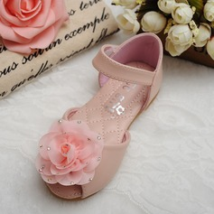 Girl's Peep Toe Microfiber Leather Flat Heel Flats Flower Girl Shoes With Rhinestone Velcro Flower