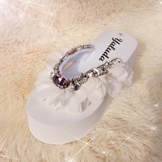 Women's Cloth Wedge Heel Sandals Flip-Flops With Rhinestone shoes