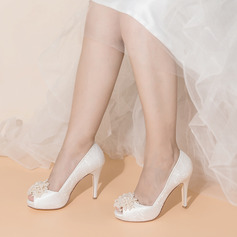 Women's Satin Fabric Stiletto Heel Peep Toe With Imitation Pearl Applique