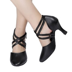 Women's Leatherette Heels Ballroom Character Shoes With Lace-up Dance Shoes