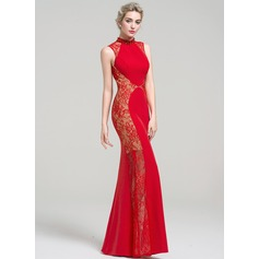 Trumpet/Mermaid High Neck Floor-Length Satin Lace Evening Dress With Beading Sequins