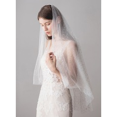 Two-tier Cut Edge Fingertip Bridal Veils With Sequin