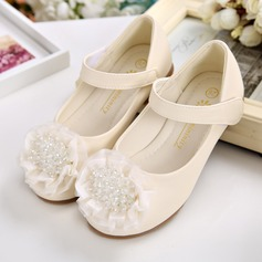 Girl's Round Toe Leatherette Flat Heel Flats With Beading Velcro