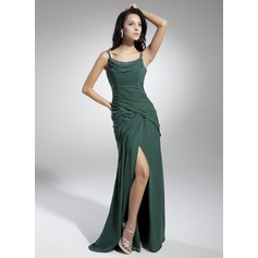 A-Line/Princess Scoop Neck Floor-Length Chiffon Holiday Dress With Ruffle Beading Split Front