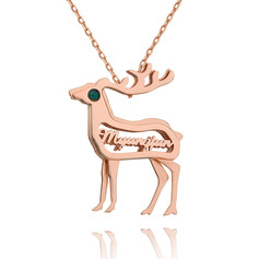 Custom 18k Rose Gold Plated 3D Hollow Carved Sika Deer Name Necklace Birthstone Necklace - Birthday Gifts Mother's Day Gifts