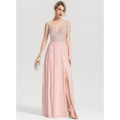 A-Line/Princess V-neck Floor-Length Chiffon Prom Dresses With Beading Split Front (018163280)