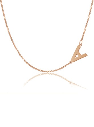 Custom 18k Rose Gold Plated Silver Letter Sideways Initial Necklace - Birthday Gifts Mother's Day Gifts