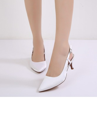 Women's Silk Like Satin Stiletto Heel Closed Toe Pumps Sandals Slingbacks
