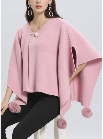 Solid Color Cold weather Polyester Poncho