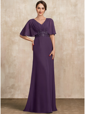 V-neck Floor-Length Chiffon Mother of the Bride Dress With Lace Sequins