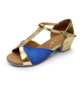 Women's Kids' Satin Heels Sandals Latin With T-Strap Dance Shoes