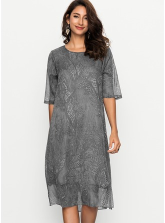 Silk With Jacquard Midi Dress