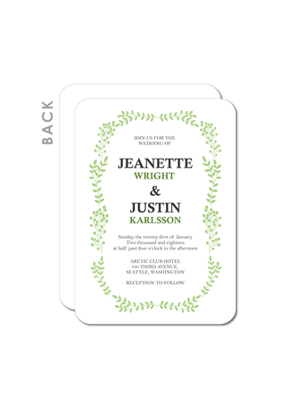 Wreathed Leaves Wedding Cards