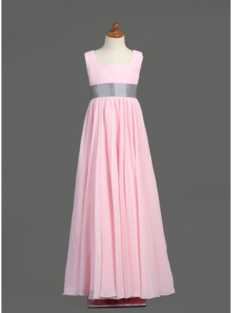 Empire Square Neckline Floor-Length Chiffon Junior Bridesmaid Dress With Sash