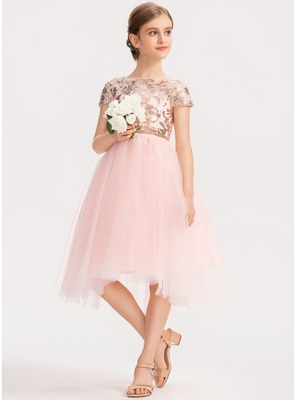 Scoop Neck Asymmetrical Tulle Junior Bridesmaid Dress With Sequins